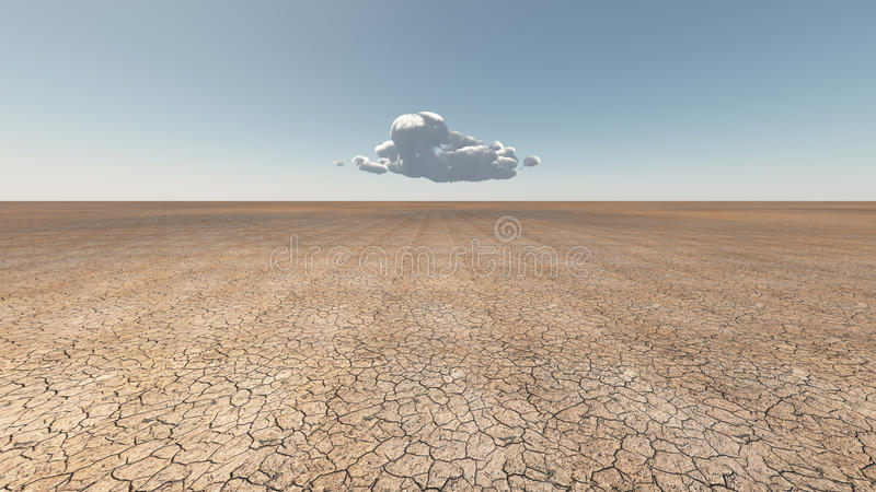 Dry Cracked earth with cloud. Dry Cracked earth with single cloud royalty free illustration