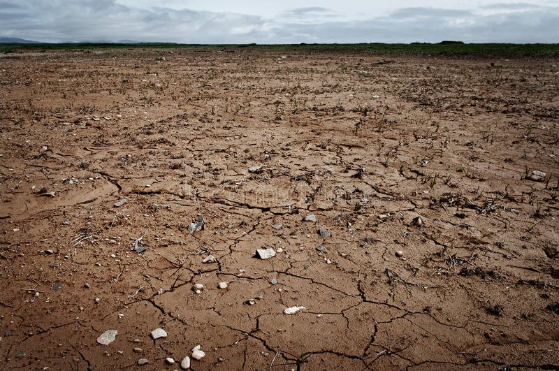 Dry and cracked ground. Land with dry and cracked ground stock image