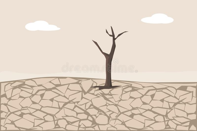Dry Cracked Land. Soil Erosion and Desertification. Dry cracked land with tree. Soil Erosion and Desertification. Land Degradation stock illustration