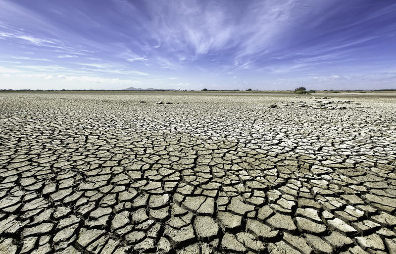 Dry, cracked plains of outback Australia. Summer can be relentless in Australia, and rivers and lakes dry up fast in the scorching heat, resulting in cracked and royalty free stock image