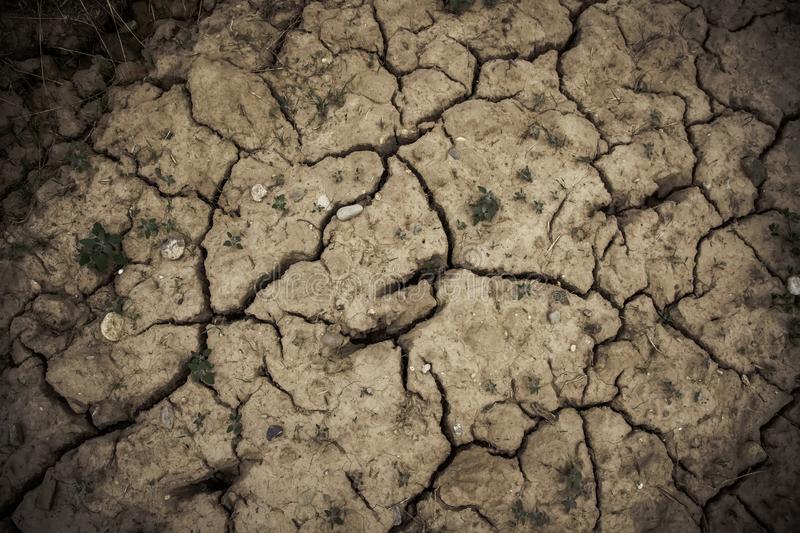 Dry and cracked soil. Drought detail and climate change hot clay land terrain broken texture dirt environment background earth desert heat pattern global stock photo