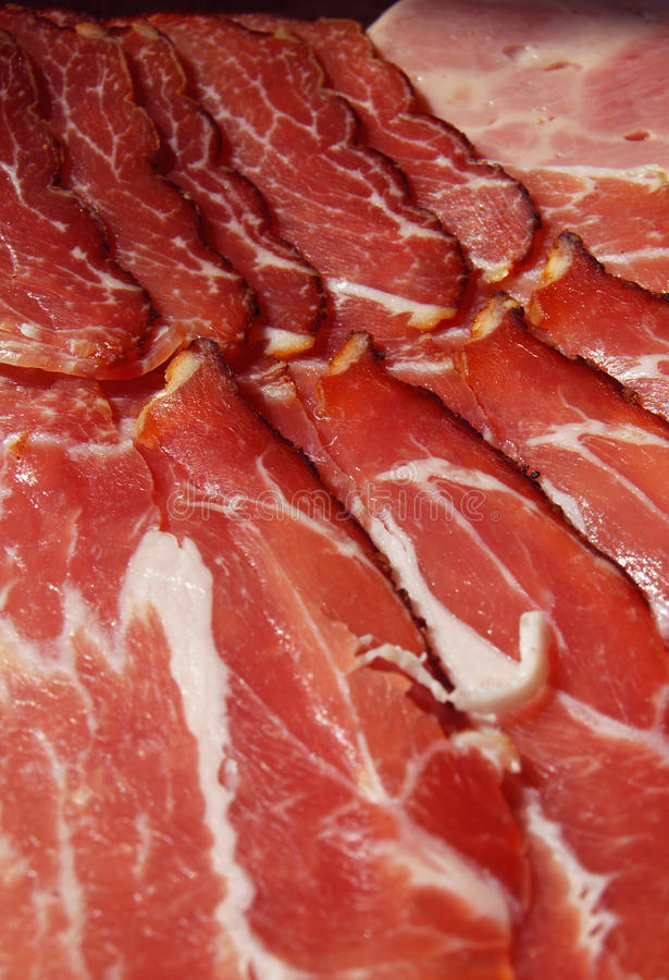 Dry cured German Black Forest ham royalty free stock images