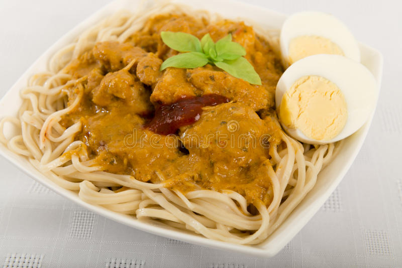 Dry Curry Mee royalty free stock photo