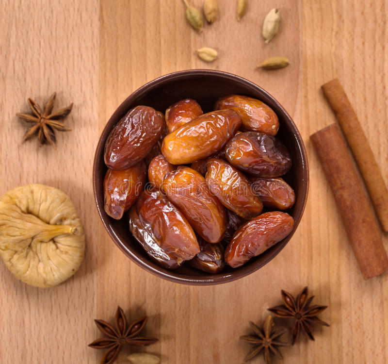 Dry dates top view stock images