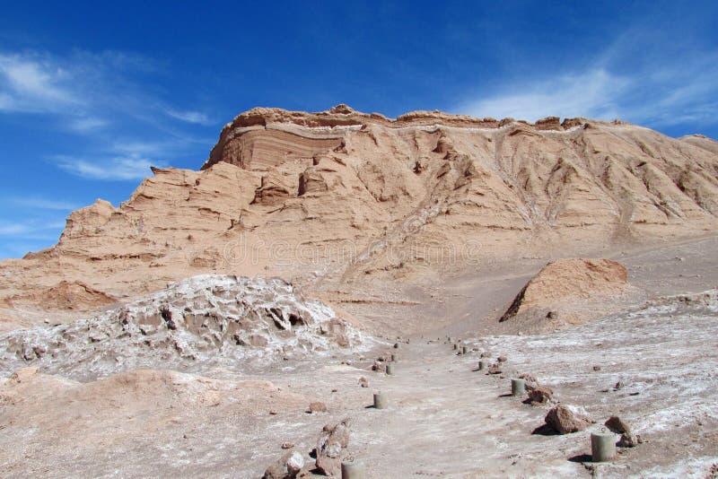 Dry desert hill in San Pedro de Atacama desert. Dry desert hill in valle Quitor, San Pedro de Atacama desert. Panoramic view of empty dry solty desert soil in royalty free stock photos