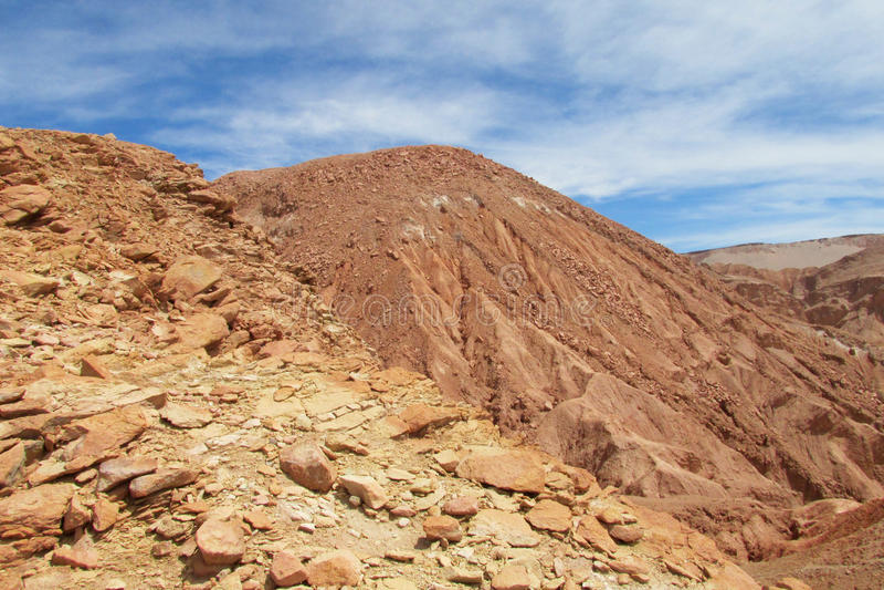 Dry desert hill in valle Quitor, San Pedro de Atacama desert. Panoramic view of empty dry solty desert soil in SanPedro de Atacama. Red rocks in driest area in stock image