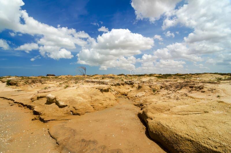 Dry Desert Landscape. Dry barren desert landscape in La Guajira, Colombia royalty free stock images