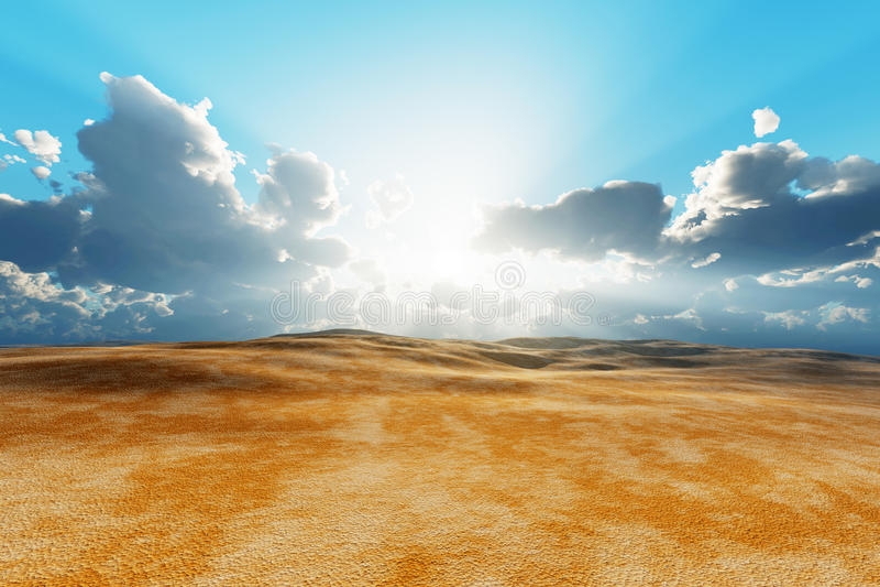 Dry desert. Sun in clouds over dry desert royalty free stock photo