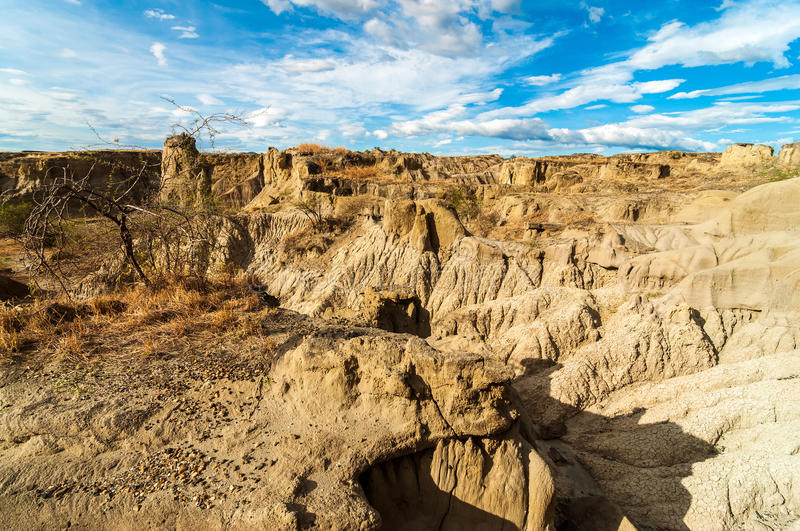 Dry Desert View. Wide angle view of dry parched desert landscape stock images