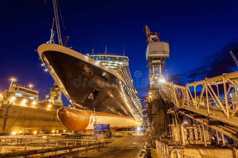 Dry dock, Bahamas. Night shoot of a ship being repaired in the bahamian dry dock stock images