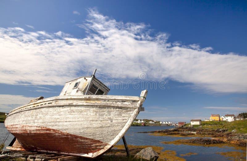 Dry-docked on Change Island Newfoundland Canada stock photo