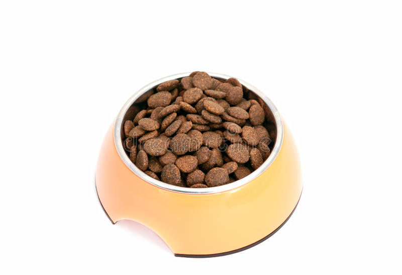 Dry dog food in bowl stock photos