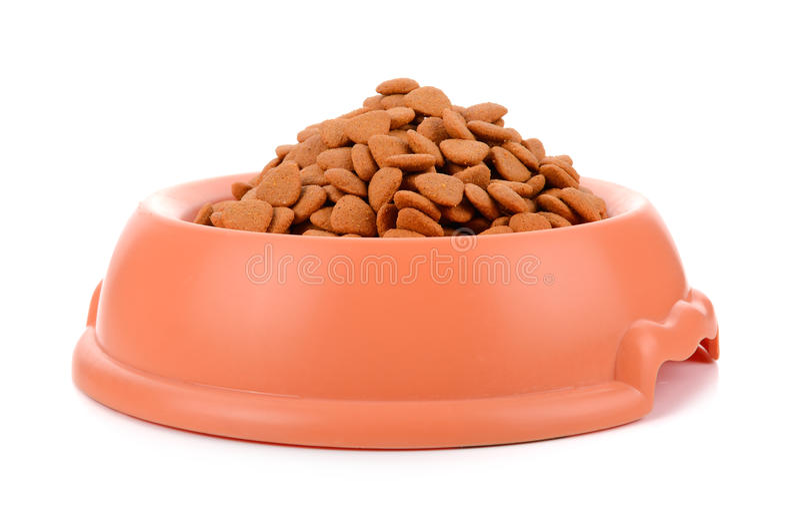 dry dog food in orange bowl isolated on white background stock photos