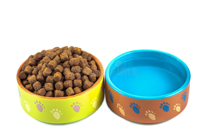 Dry dog food and water in ceramic bowls isolated on white royalty free stock images