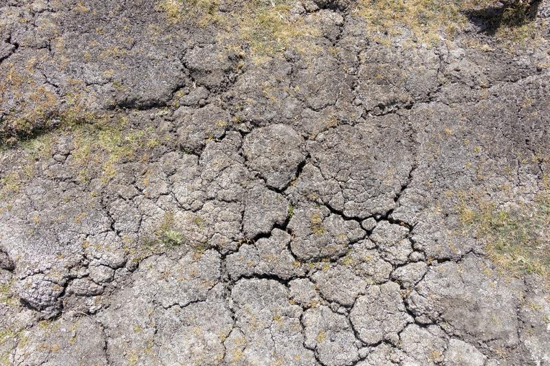 Dry earth with cracks on arid soil surface seen from above. Environmental signs of climate change and global warming. Dry earth with cracks on arid soil surface stock image