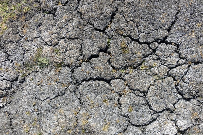 Dry earth with cracks on arid soil surface seen from above. Environmental signs of climate change and global warming. Dry earth with cracks on arid soil surface royalty free stock images