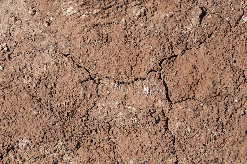 Dry earth with cracks on arid soil surface seen from above. Environmental signs of climate change and global warming. Dry earth with cracks on arid soil surface royalty free stock photo