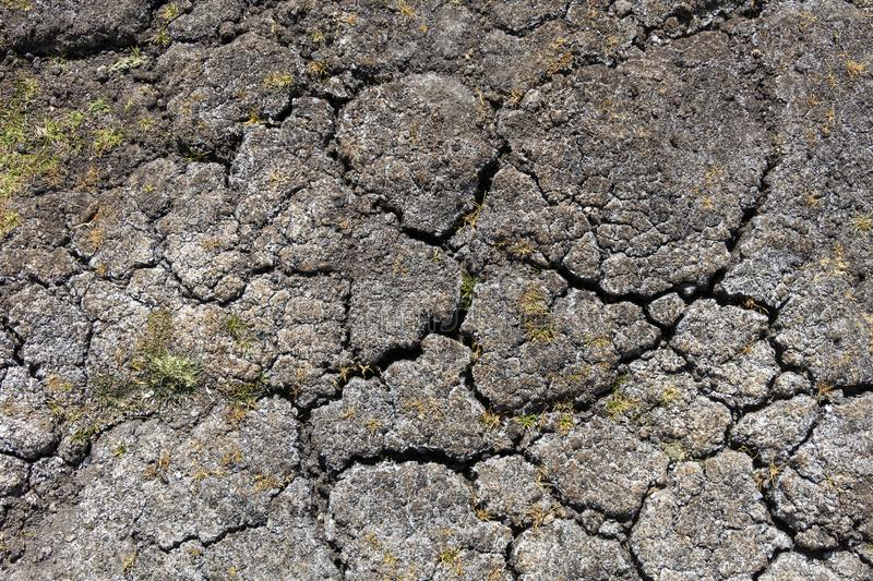 Dry earth with cracks on arid soil surface seen from above. Environmental signs of climate change and global warming. Dry earth with cracks on arid soil surface royalty free stock photos