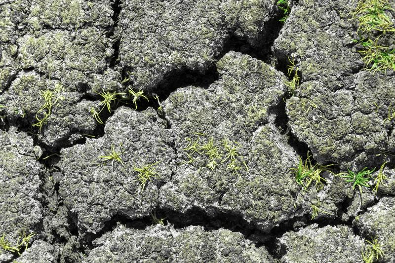 Dry earth with cracks on arid soil surface seen from above. Environmental signs of climate change and global warming. Dry earth with cracks on arid soil surface stock photography