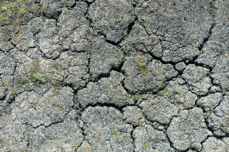 Dry earth with cracks on arid soil surface seen from above. Environmental signs of climate change and global warming. Dry earth with cracks on arid soil surface stock photos