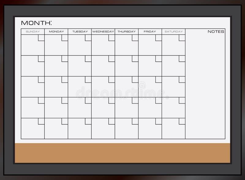 Dry erase calendar board vector illustration