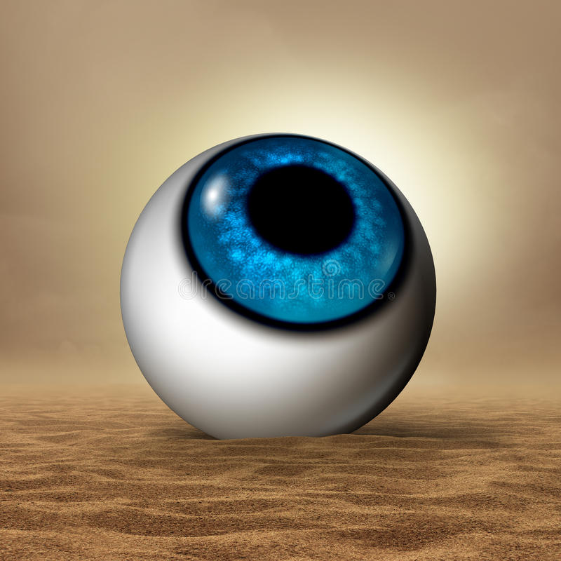 Dry Eye. Disease medical concept as a human eyeball in an arid desert as an opthalmology or optometry symbol for vision organ symptoms of dryness and hudration vector illustration