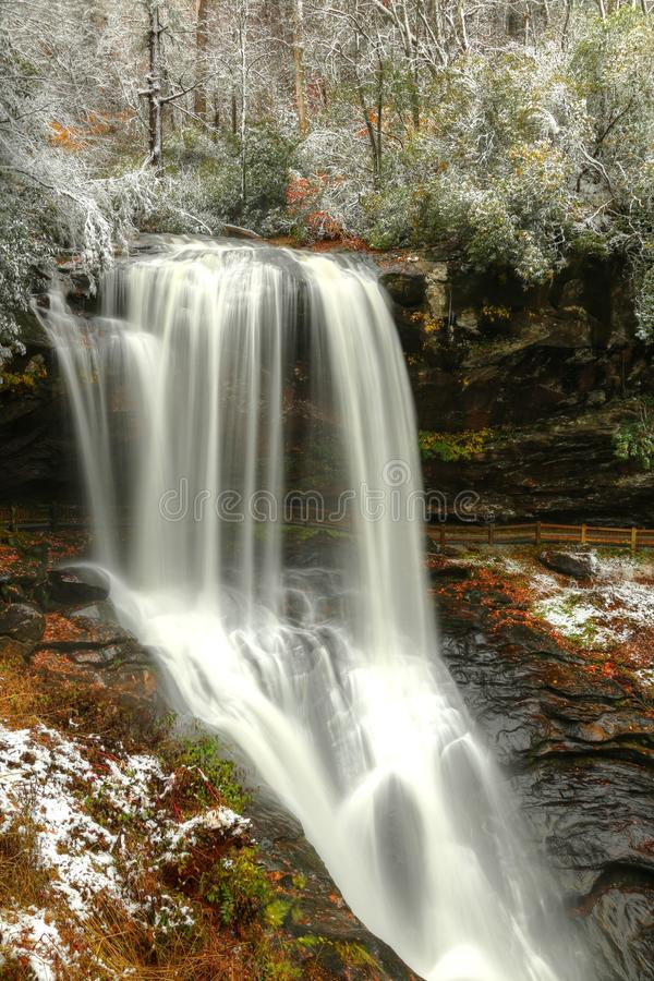 Dry Falls, Autumn Snow In Natahalia National Forest. Still Autumn as snow came to Western North Carolina. Dry Fall off Hwy 64 in Natahalia National Forest gives stock image