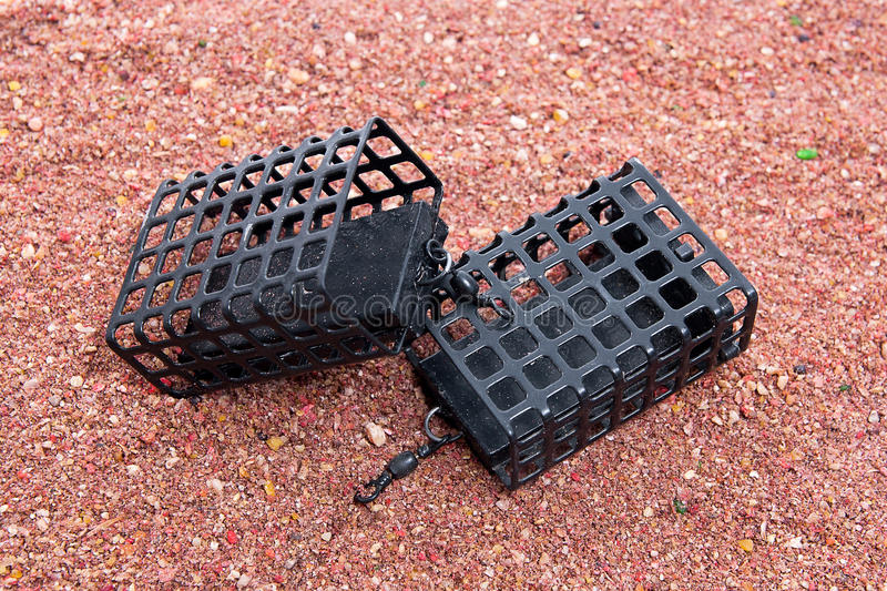 Dry feed for carp fishing as background. Different fishing feeder on fishing feed. stock photo