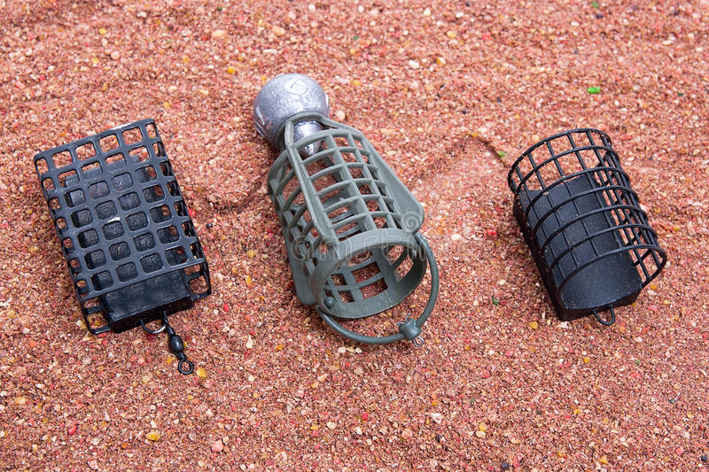 Dry feed for carp fishing as background. Different fishing feeder on fishing feed. royalty free stock photography
