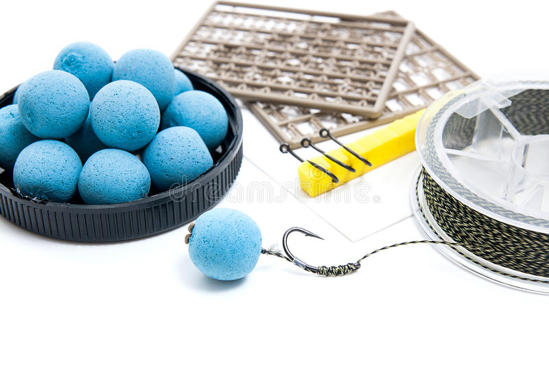 Dry feed for carp fishing. Carp boilies and accessories for carp stock image