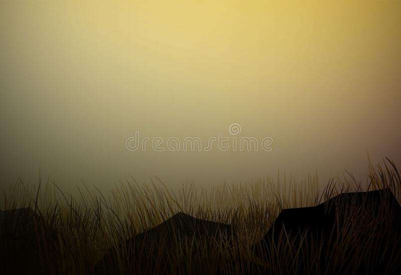 Dry field grass with stones, prairie drought landscape, savanna dry hot evening landscape,. Vector royalty free illustration