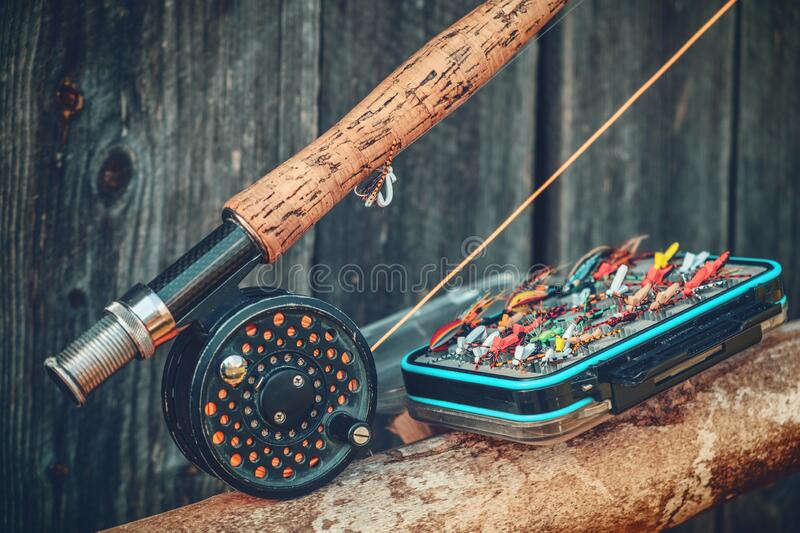 Dry flies for fly fishing stock photos