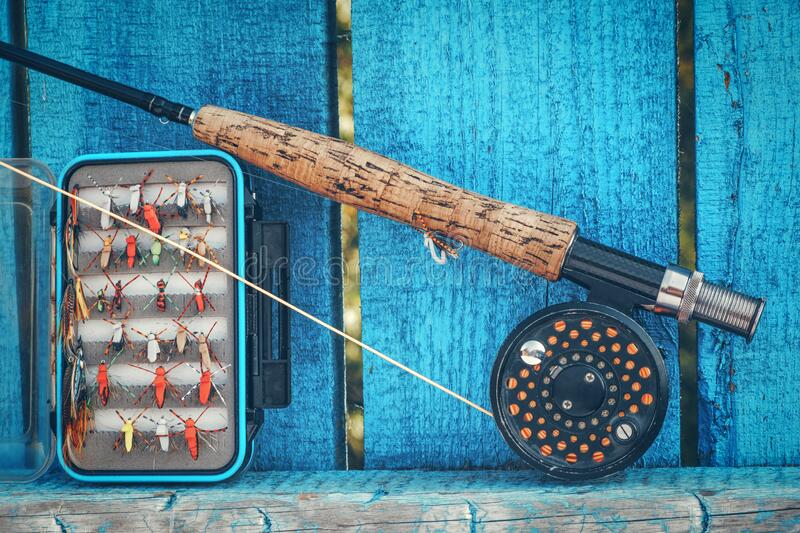Dry flies for fly fishing stock photography