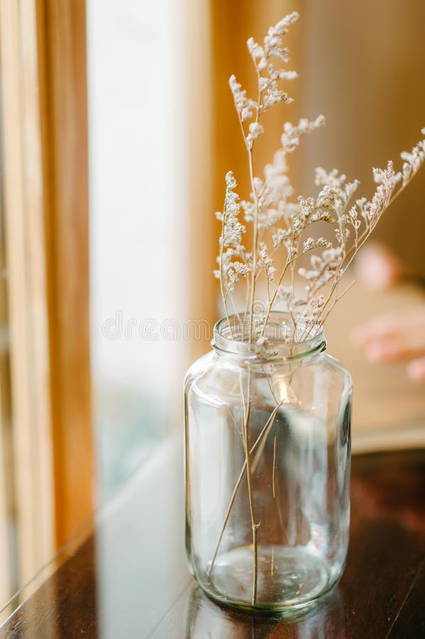 Dry flower home decoration. In warn tone and selective shallow depth of field royalty free stock photos