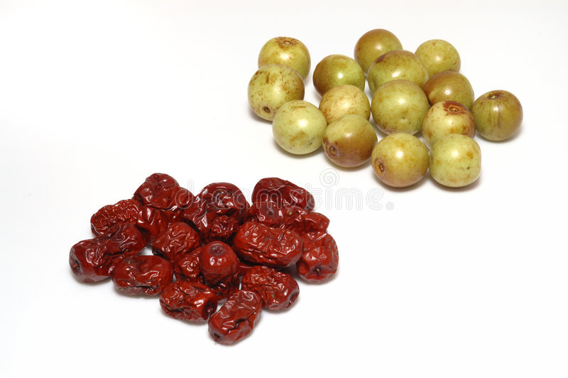 Dry And Fresh Dates (jujubes) Stock Photography