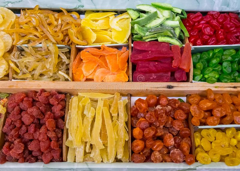 Dried fruit mix on food product market 2 stock photos