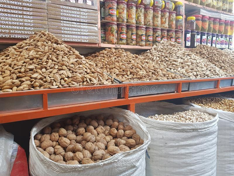Dry fruit shop in Quetta, Pakistan royalty free stock image