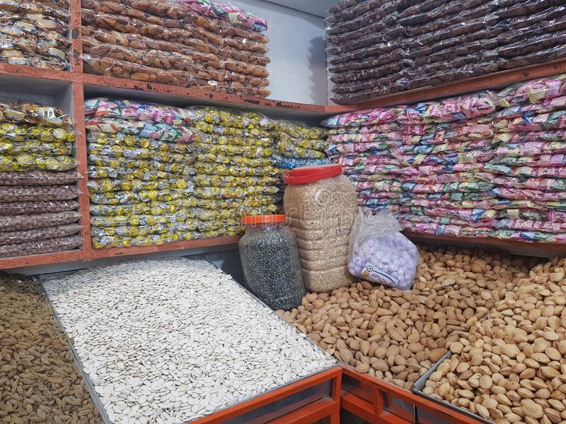 Dry fruit shop in Quetta, Pakistan royalty free stock photo