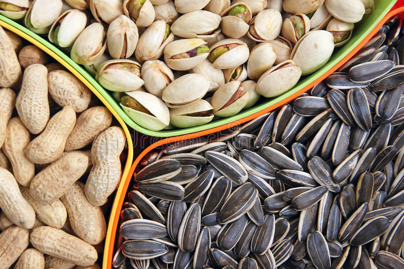 Dry fruits. The close-up of different dry fruits in box royalty free stock image