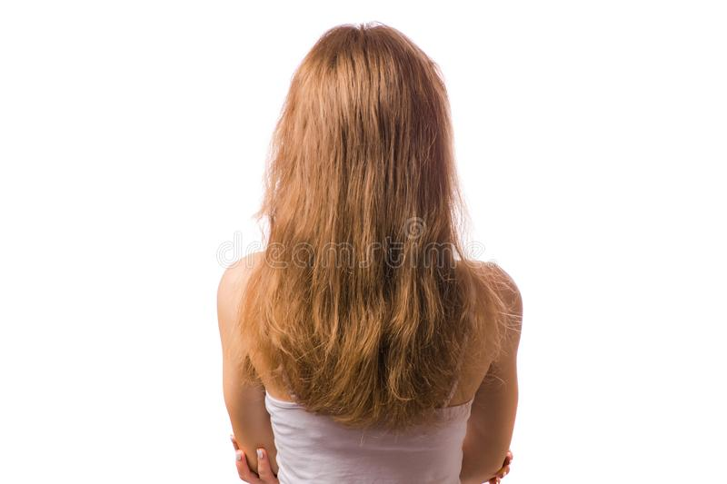 Dry hair dry beauty hair. On a white background isolation stock photo
