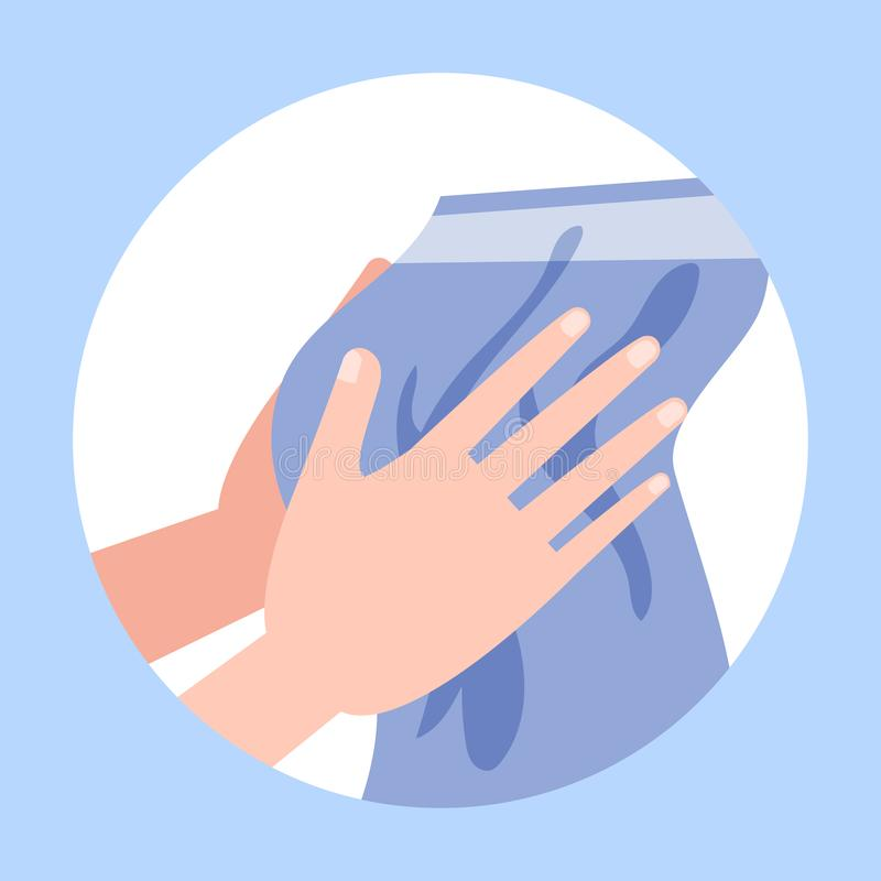 Dry hands after washing with a towel royalty free illustration
