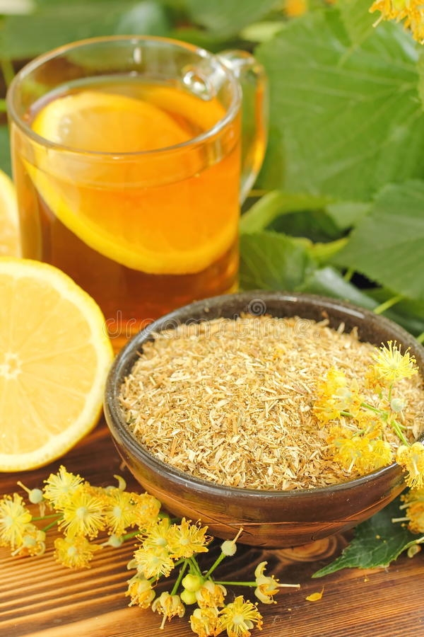 Dry herbal tea with linden flowers royalty free stock images