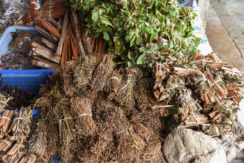 Dry herbals. Bark For medicine herbs stock photography