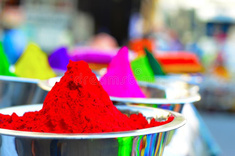 Dry Holi Colored Powder For Sale In Pune Stock Photo - Image of ...