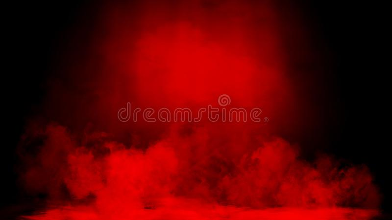 Dry ice red smoke clouds fog floor texture. Perfect spotlight mist effect on isolated black background stock image