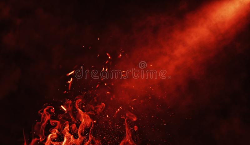 Dry ice smoke clouds fog floor texture. Perfect fire particles spotlight mist effect on isolated black background royalty free illustration