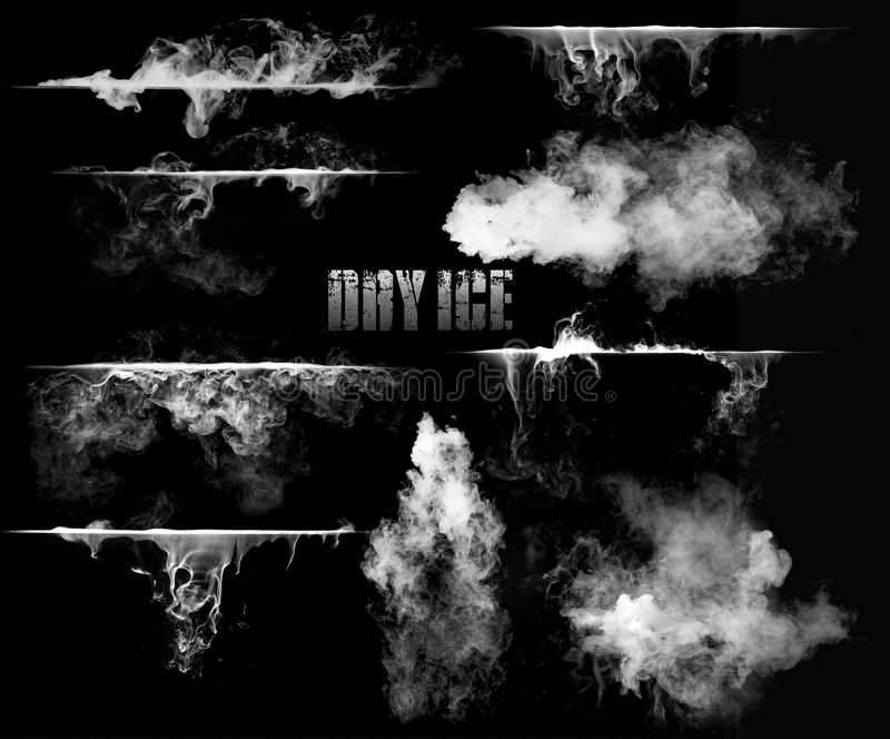 Dry ice with smoke. Graphic text dry ice surrounded with smoke in black and white stock image
