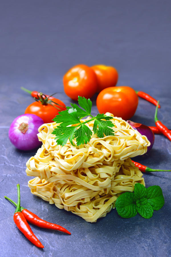 Dry instant noodles stock photos