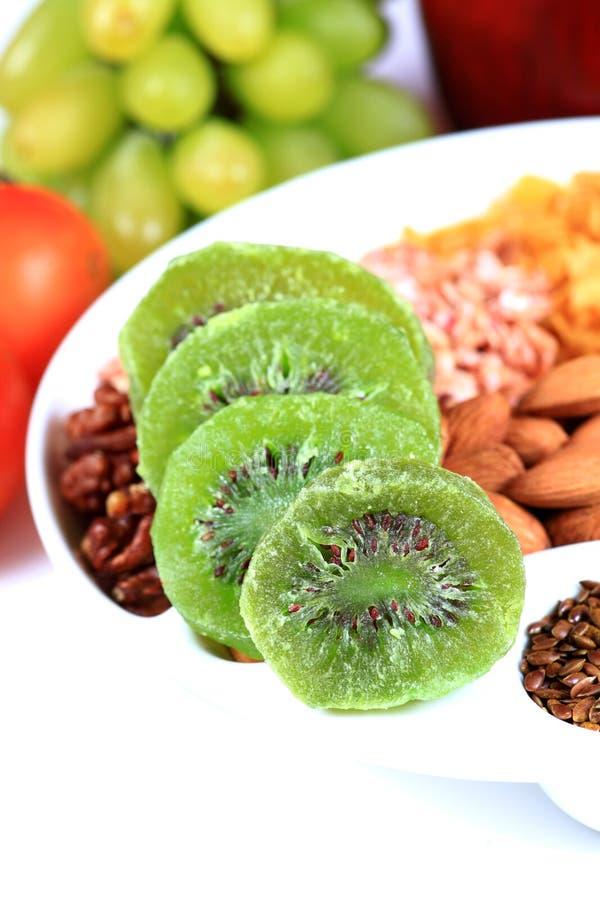 Dry kiwi. Beautiful shot of dry kiwi slices stock photography