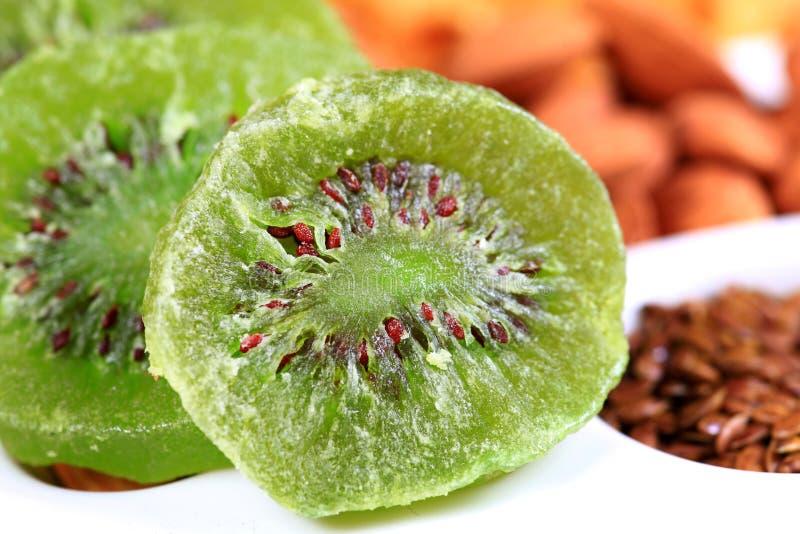Dry kiwi. Beautiful shot of dry kiwi slices royalty free stock photography